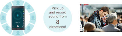 Pick up and record sound from 8 directions!