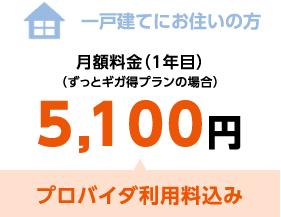 一戸建てにお住いの方 月額料金(1年目)(ずっとギガ得プランの場合)5,100円 プロバイダ利用料込み