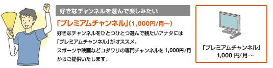 「プレミアムチャンネル(えらべるチャンネル)」(1,000円/月~)