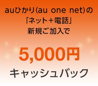 auひかり(au one net)の「ネット+電話」新規ご加入で5,000円キャッシュバック