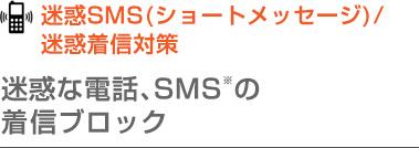 迷惑SMS(ショートメッセージ)/迷惑着信対策 迷惑な電話、SMS※の着信ブロック