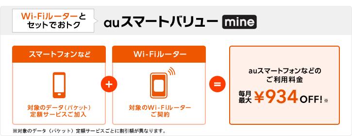 【2】WiFiルーターとセットでおトク:auスマートバリュー mine