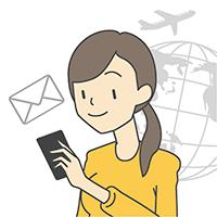 文字メッセージをおくる(国際SMS)アイコン