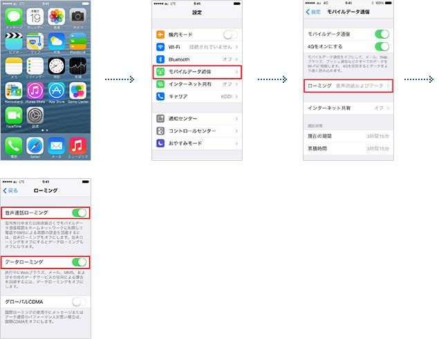 画面キャプチャ: 海外モード設定 (iPhone/iPadをご利用の場合)
