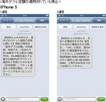 画面キャプチャ: 海外ダブル定額が適用されている場合 iPhone 5