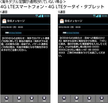 海外ダブル定額が適用されていない場合 4G LTEスマートフォン・4G LTEケータイ・タブレット