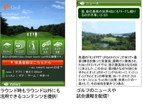 ラウンド時もラウンド以外にも活用できるコンテンツを提供!/ゴルフのニュースや試合速報を配信!