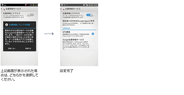 上記画面が表示された場合は、どちらかを選択してください。⇒設定完了