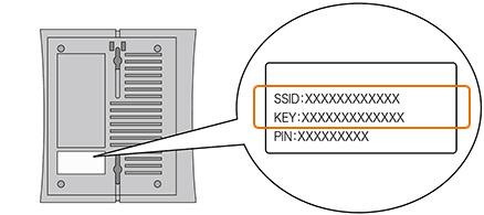 「SSID」と「KEY」は本機器本体の側面や底面に貼付されているラベルに記載されています。