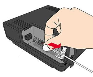 STEP4:光ファイバーを、(ONUの)固定具、光コネクタ部から外します。